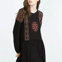 Black Geometric Embroidered Long-Sleeve Dress
