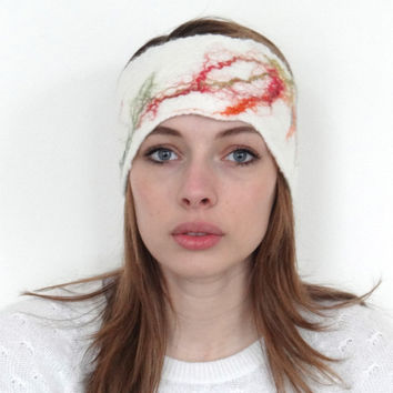 headband, turband, handmade felt, white with red, green & orange silk fibres. Spring bride. Mother's day gift idea.