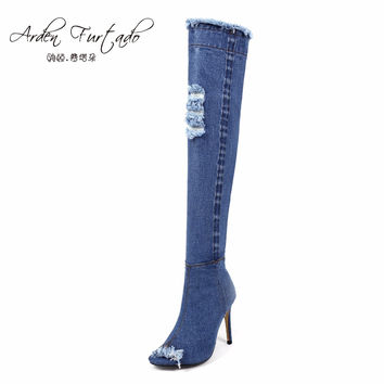 2017 blue denim boots over the knee thigh high boots summer knee high boots for women high heels women shoes tassel jeans boot
