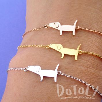 Cute Dachshund Wiener Dog Shaped Charm Bracelet in Silver Gold or Rose Gold