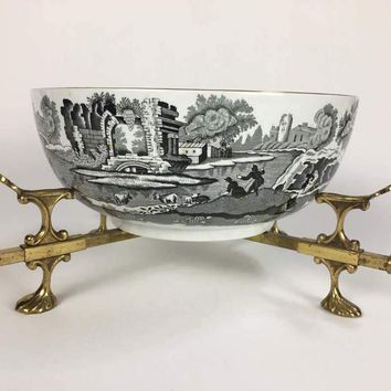 Beautiful Copeland Spode England Italian Bowl  with brass Trivet