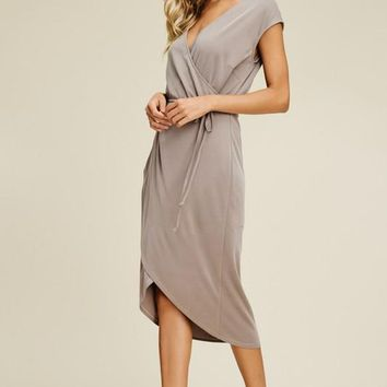 Tulip Hem Wrap Dress - Taupe