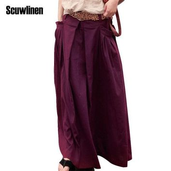 CREYONHS SCUWLINEN 2017 Women Skirts Saias Femininas Plus Size Linen Skirts Pleated Pockets Casual Maxi Skirt Long Skirts Women  S07