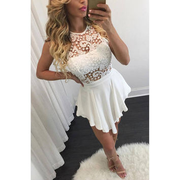 Summer White Hollow Out Lace Mosaic Irregular Dress One Piece Dress [4920240836]
