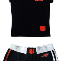Kanga Roos Black Work Out Gym Clothing Training Shorts Set From Small Tee Shirt (Small/Indie Brands)