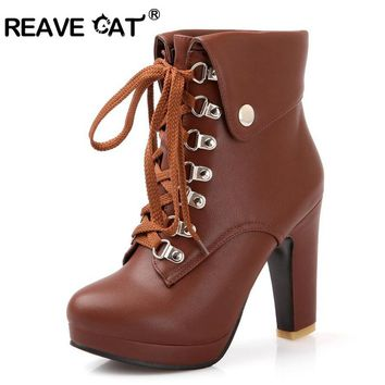 REAVE CAT Plus Size Platform High Heels Boots Lace Up Chunky Heel Ankle Boots for Women  New Fashion Booties Dropshipping