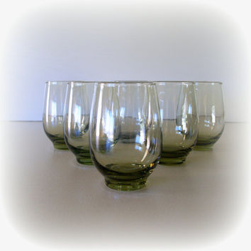 LOVELY OLIVE GREEN Vintage 1960 Set of 6 Glasses / Libbey Tempo Pattern / Lowball Cocktail Cooler Tumblers / Mid Century Glassware / Mad Men