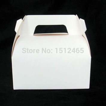 Free shipping,10pcs/lot New style Gift Cake White Kraft Paper Boxes with Handle For Wedding Favors Decorations 14x9x13.5cm CB07
