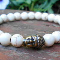 Mens Buddah Bracelet, Mens White Bracelet, Mens Yoga Jewelry, Men's Yoga Bracelet, Man Bracelet, Men's Buddah Jewelry, Gift for Him