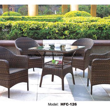 Comfortable High Back Outdoor Chairs Set Wicker Vine Leisure Furntiure Factory Sale Tea Coffee Table Chair Combination Holiday