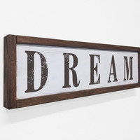 Dream Floater Frame Wall Art Sign White Walnut, 24x7