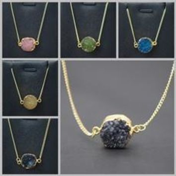 Elegant Natural Stone Jewelry Candy Color Genuine Pendants Necklaces [8321354119]
