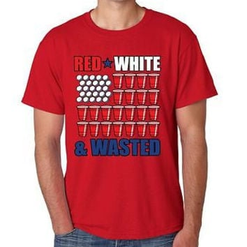 Red White And Wasted 4th of July Men's T-Shirt