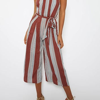 Red Striped Choker Racer Back Wide Leg Culotte Jumpsuit