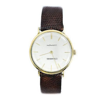 Antique Movado Tifanny&CO 14K Gold Leather Band Men's Watch