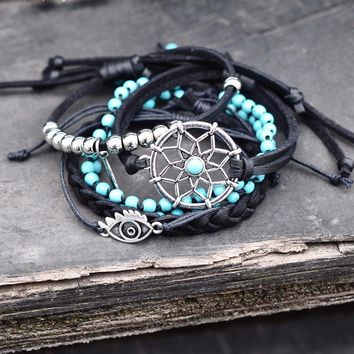 Leather bracelets ~set turquoise beads dreamcatcher bracelet
