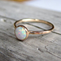 Gold Opal Ring, Delicate Gold Ring, Stacking Ring, Stacking Opal Ring, Gold Filled Ring, Bezel Opal Ring
