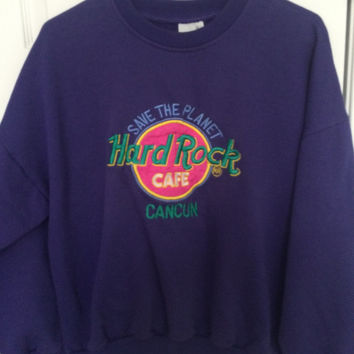 super 80s neon vintage hard rock cafe cancun crew neck // save the planet hard rock cafe