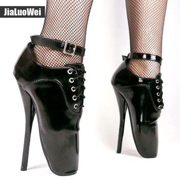 "jialuowei 18cm/7"" High Heel Patent Shiny Sexy Fetish Pinup Burlesque Pointed Toe ankle strap Mary Janes Ballet Pump Heel Shoes"