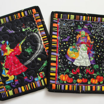 Quilted Halloween Witches Mug Rug Placemat Candle Mat - Set of 2