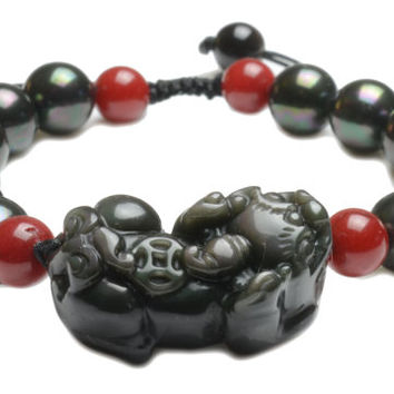 Black obsidian , pearl and coral Fortune Pi Shou Tiger Amulet Bracelet - Fortune Jade Jewelry