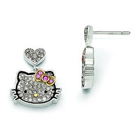Sterling Silver Hello Kitty Pav' Crystal Outline Collection Post Earrings QHK151