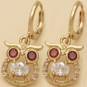 Gold Layered Women Owl Dangle Earring, with Garnet Cubic Zirconia, by Folks Jewelry