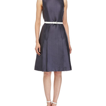 Mini-Dot Print Belted Dress, Indigo/White, Size: