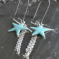 Aqua Star Earrings Silver Chain Fringe