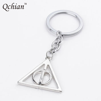 Movie Harry Potter Keychain Death Vestanger Pendant Key Chains for Men Luna Rotary Triangle Jewelry Women Bags Keyring holder