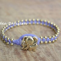 Elephant bracelet, Mom & Kid Elephant, Macrame Simple Bracelet, Gift Idea, Purple