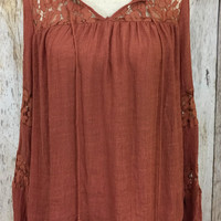 Layered in Lace Top- Rust