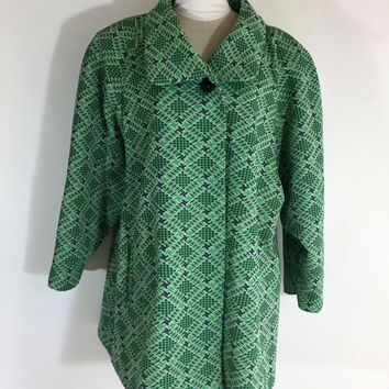 Vintage Green Coat Checkered Coat Green Checkered Coat Polyester Coat 1960s Coat Swing Coat Plus Size