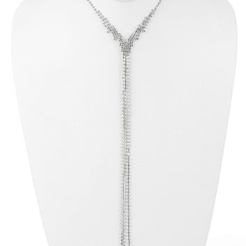 Clear Long Rhinestone Chain Fringe Y Necklace