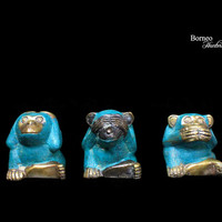 """Three Wise Little Monkey 1.7""""-1.9"""" Whimsical Trio Brass Figurines From Java (set of 3)Aged Brass Mind, Speech And Action Art Statuette"""