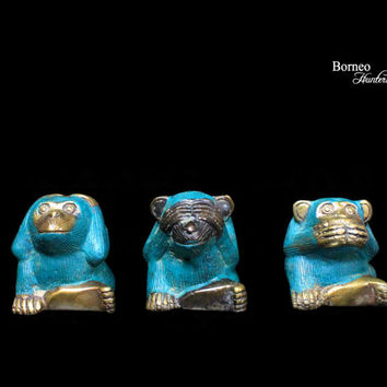 "Three Wise Little Monkey 1.7""-1.9"" Whimsical Trio Brass Figurines From Java (set of 3)Aged Brass Mind, Speech And Action Art Statuette"