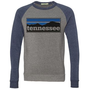 Adult Tennessee Mountain Range on Grey and Navy Crew Sweatshirt