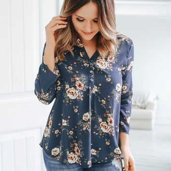 Georgia Blue Floral Top