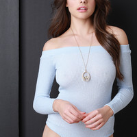Ribbed Knit Off Shoulder Bodysuit