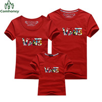 Family Matching Outfits Candy Color T Shirt Mother & Kids Tops Short Sleeve Father and Son Suit Mother and Daughter Clothes
