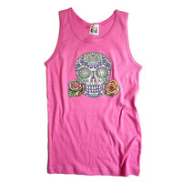 Trendy Girls Skull Shirt. Day of the Dead Tank Top Pink Sleeveless Tshirt. childrens 6, 8, 10, 12 Summer top with tattoo sugar skull
