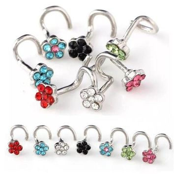 ac ICIKO2Q Stainless Steel Crrystal Nose Open Hoop Ring Earring Body Piercing Multicolor flower Nose Studs Women Stud Jewelry Drop Shipping