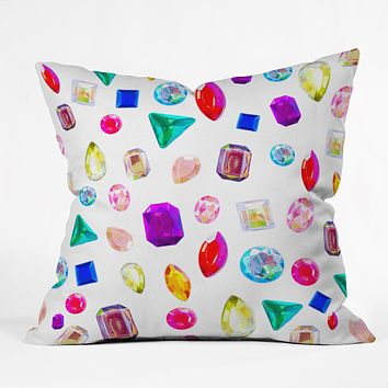 Natalie Baca Rhinestone Reverie In White Throw Pillow