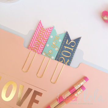 2015 Planner Paper Clips, Planner Bookmark, Planner Accessories, Homework Bookmark - Set of 3