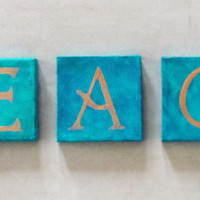 Living Room Decor - Living Room Art - Living Room Decoration - Wall Art - Peace - Mini Canvas Teal Blue and Bronze