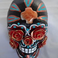 Day of the Dead  Sugar Skull - Black, Copper and Turquoise - painted paper mache