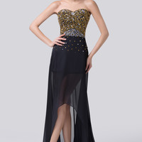 Black Off Shoulder Beaded Sheer High Low Chiffon Evening Dress