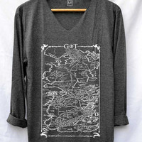 Game of Thrones Map Shirt Jon Snow Shirts V-Neck Long Sleeve Unisex Size S M L