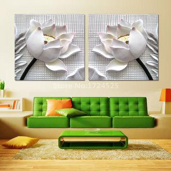 2 Pcs/Set Classic Style 3D Lotus Flower Wall Picture Home Decoracion Flower Wall Art Canvas Painting On Canvas No Frame