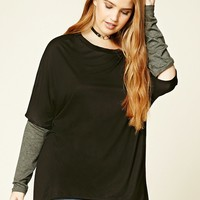 Plus Size Cutout Elbow Top